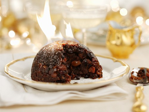 Flambéed Christmas pudding