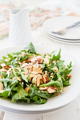 Lemon and herb couscous with almonds, rocket and a coriander and buttermilk dressing