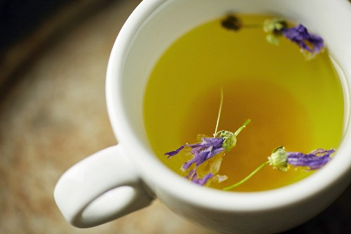 Hot herb tea with dissolved rock candy