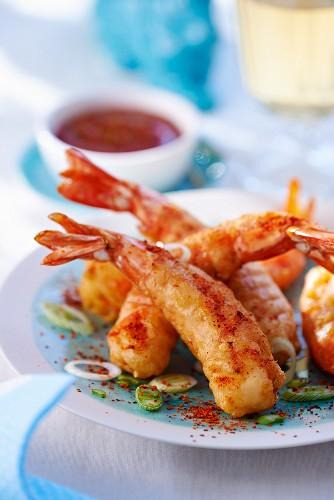 Prawn tempura with chilli sauce