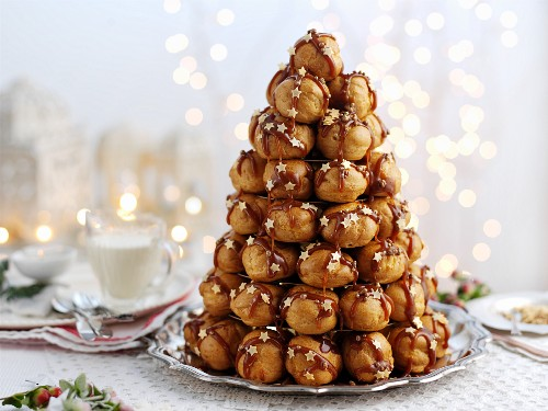 Croquembouche with caramel sauce for Christmas