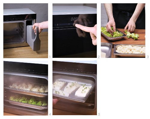 Cooking fish and vegetables in a steamer