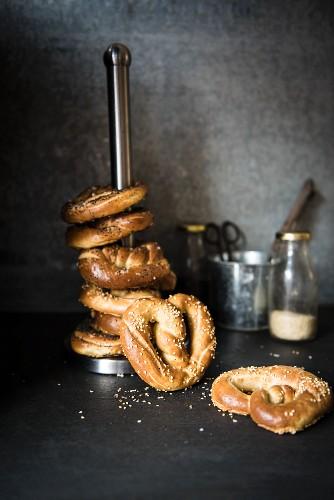 A stack of pretzels