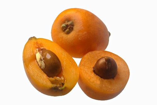 Loquats, whole and halved
