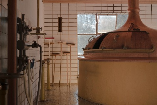 A brewing kettle in a brewery