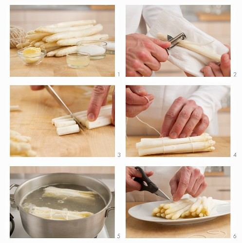 White asparagus being cooked