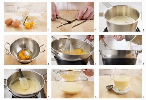 Vanilla sauce being made