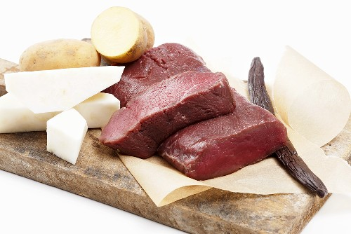 Ingredients for saddle of venison with celeriac and potatoes