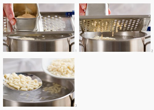 Grated Spätzle (soft egg noodles from Swabia) being boiled