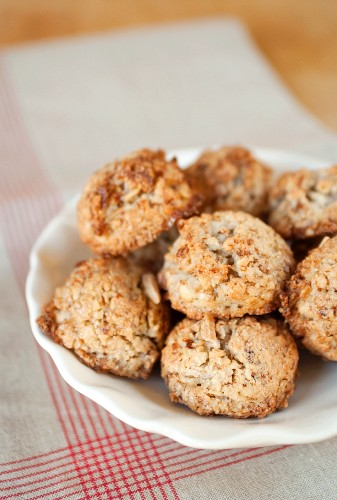 Plate of Homemade Coconut and Almond Macaroons