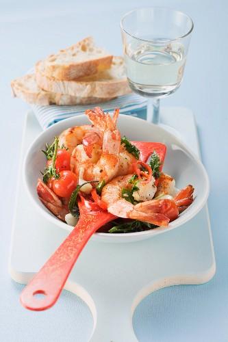 Oven-baked prawns