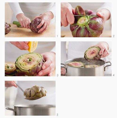 A large artichoke being cleaned and cooked in salt water