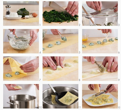Spinach and ricotta filled ravioli being prepared