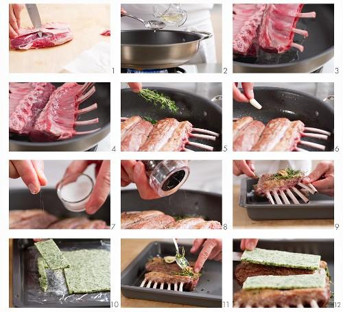 Preparing herb-crusted rack of lamb