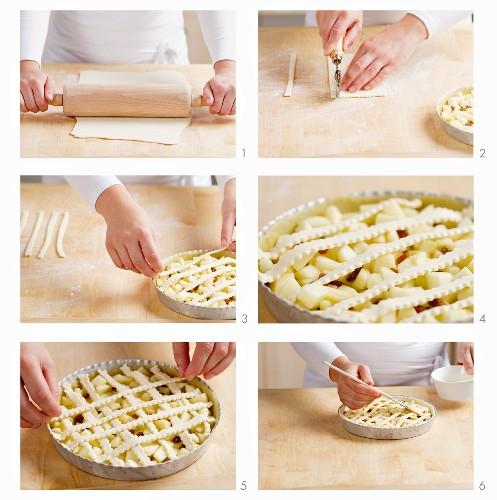 Preparing a puff pastry apple pie