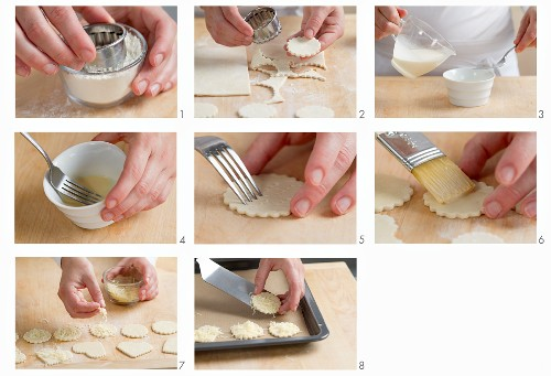 Making puff pastry cheese bites