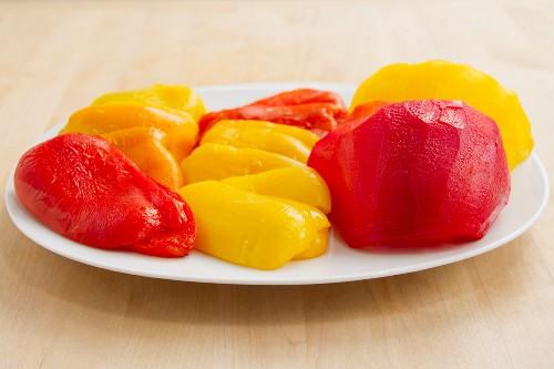 Skinned peppers