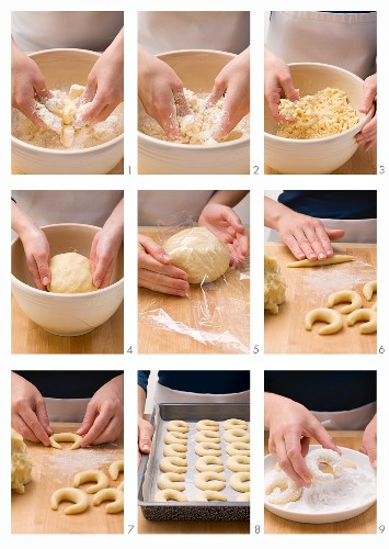 Preparing Vanillekipferl (German vanilla and nut shortbread crescents)