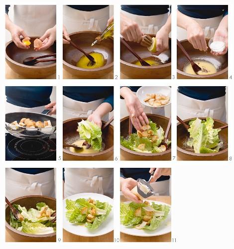Preparing a Caesar salad