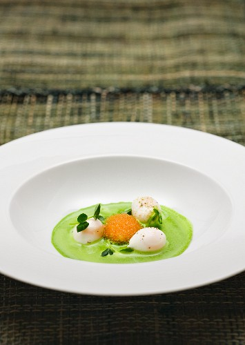 Herb soup with quail's egg and Löjrom (whitefish roe - Swedish)