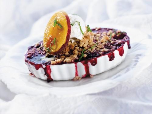 Wild Berry Crisp A la Mode in an Oval Dish