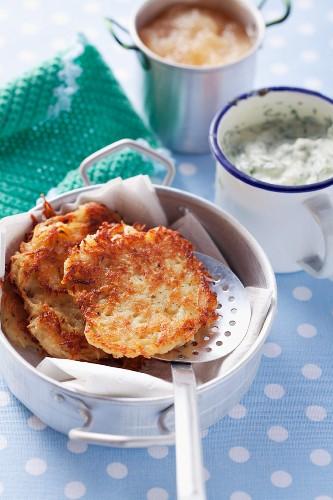 Potato pancakes with herb quark and apple sauce