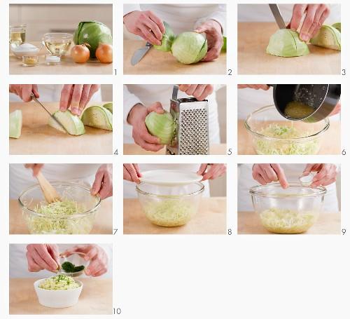 Preparing cabbage salad