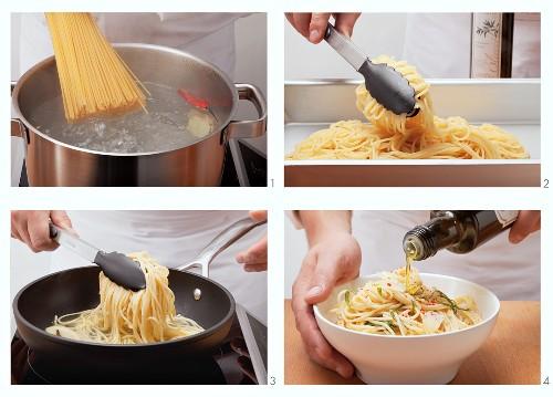 Preparing spaghetti aglio e olio