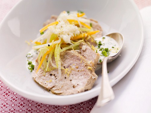 Wurzelfleisch (Austrian boiled pork) with vegetables, horseradish and chive quark