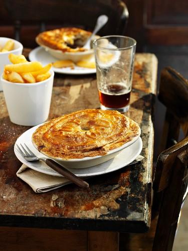 Pub steak pie and chips