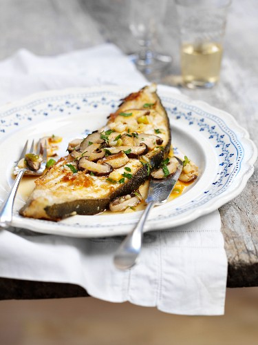 Turbot with mushrooms