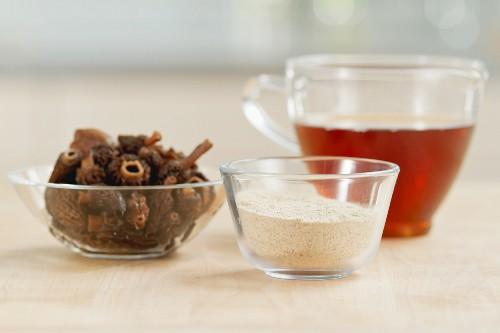 Dried conical morels, mushroom broth and mushroom powder