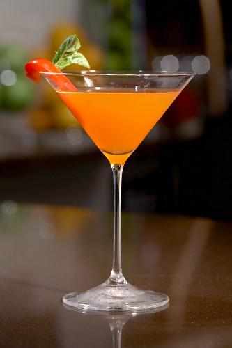 The Smoking Gun; Rum Cocktail with Grapefruit Twist; Red Pepper Garnish