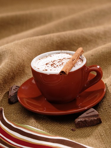 Mexican Hot Chocolate with Creme and a Cinnamon Stick