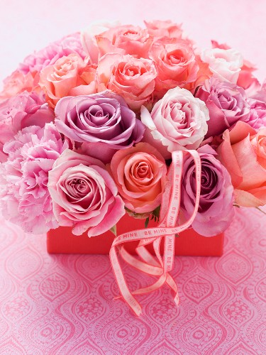 A Valentine's day bouquet of roses and carnations