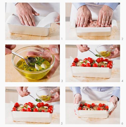 Preparing Mediterranean meatloaf