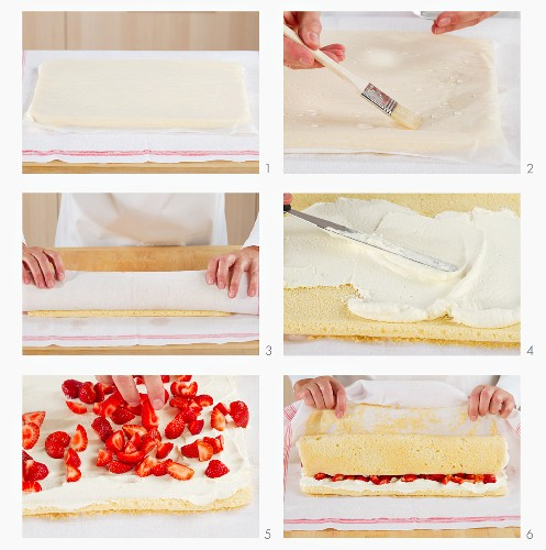 Sponge Swiss roll with a strawberry and cream filling being made