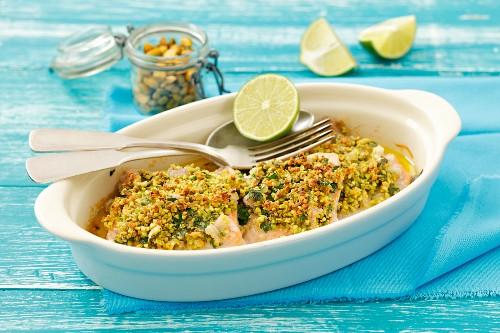 Trout fillets with a pistachio crust