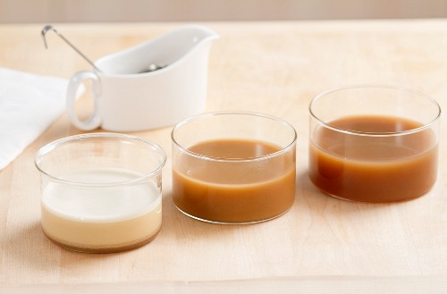 Three sauces made using various binding agents