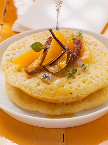 Beghrir (Moroccan pancakes) with orange salad