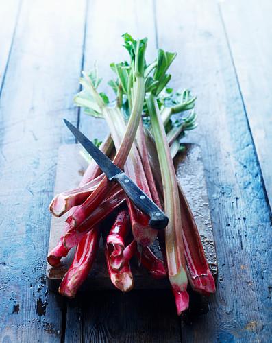 Fresh rhubarb and a knife on a wooden board