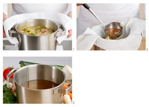 Vegetable stock being sieved