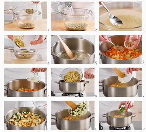 Lentil stew being prepared