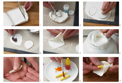 A calla lily being made from fondant icing