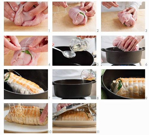 Turkey roulade filled with spinach and feta cheese being made