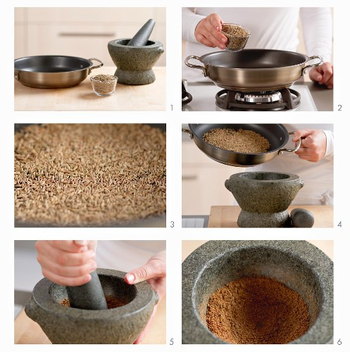 Cumin being roasted and ground in a mortar