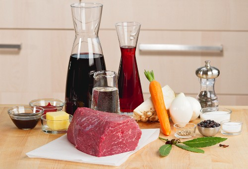 Ingredients for marinated pot roast