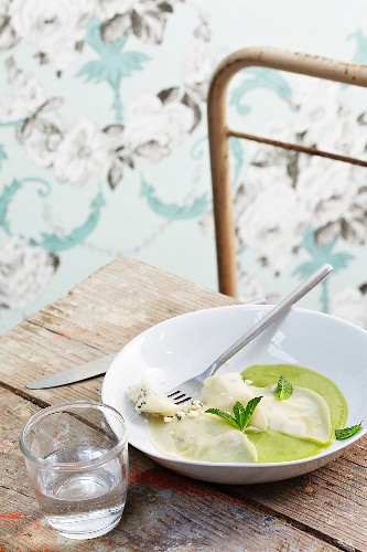 Goat cheese ravioli with pea cream