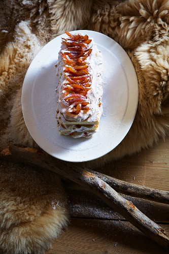 Yule log cake with chestnuts and candied oranges