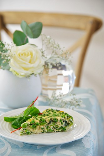 A tortilla with spring vegetables